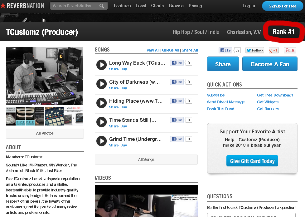 #1 ReverbNation Hip Hop Charts for Charleston, WV